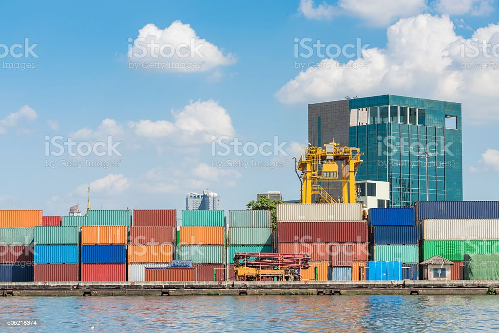 Container box in a port with blue sky stock photo
