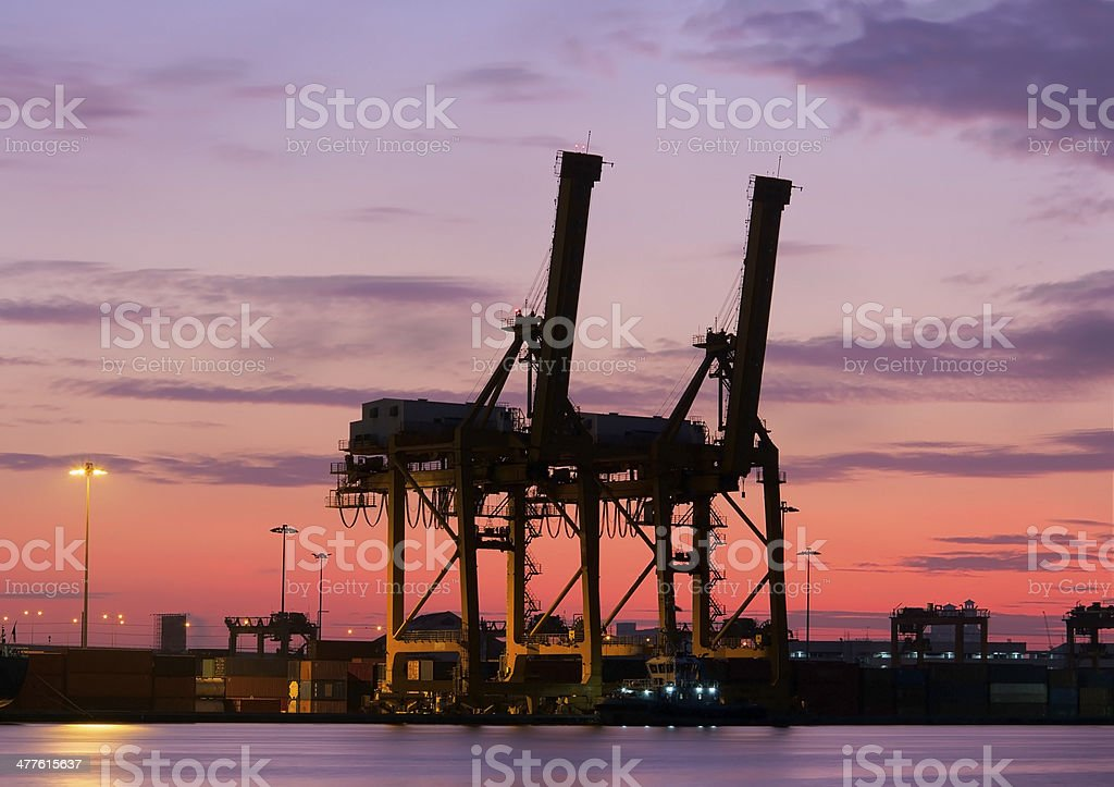 Container Cargo freight ship silhouette royalty-free stock photo