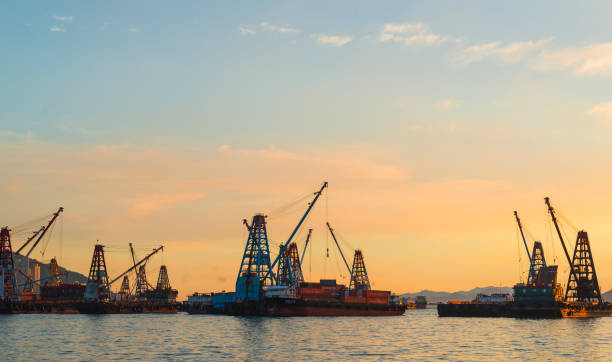 Container Cargo freight ship, Sunset stock photo