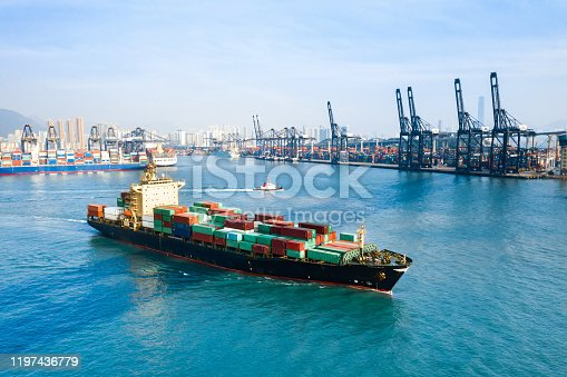 Container Cargo freight ship Terminal in Hong kong, China