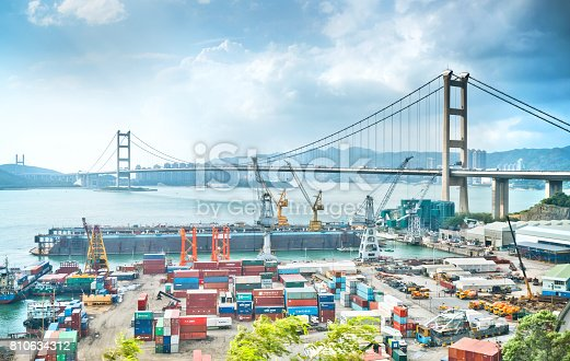637816284istockphoto Container Cargo freight ship Terminal in Hongkong, China 810634312