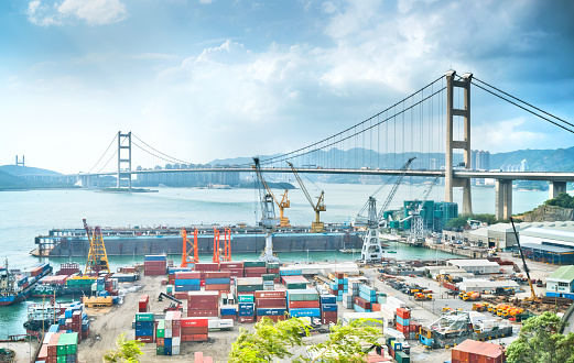 637816284 istock photo Container Cargo freight ship Terminal in Hongkong, China 810634312