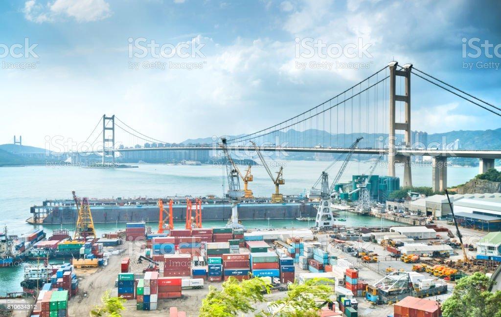 Container Cargo freight ship Terminal in Hongkong, China stock photo