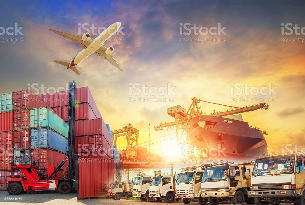 Container Cargo freight ship with working crane bridge bildbanksfoto