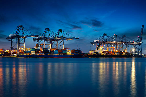 container cargo - harbor stock photos and pictures