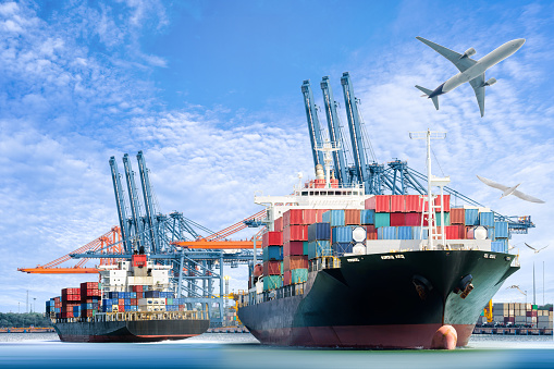 637816284 istock photo Container Cargo ship and Cargo plane for logistic import export 543988200