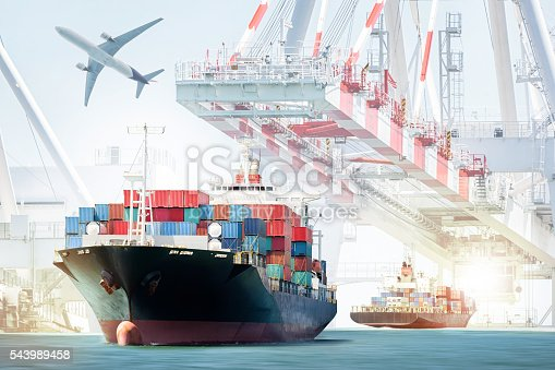 637816284istockphoto Container Cargo ship and Cargo plane for logistic import export 543989458