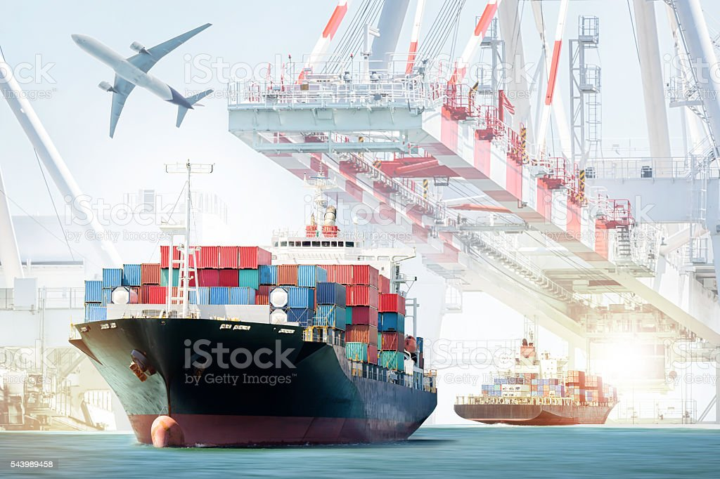 Container Cargo ship and Cargo plane for logistic import export stock photo