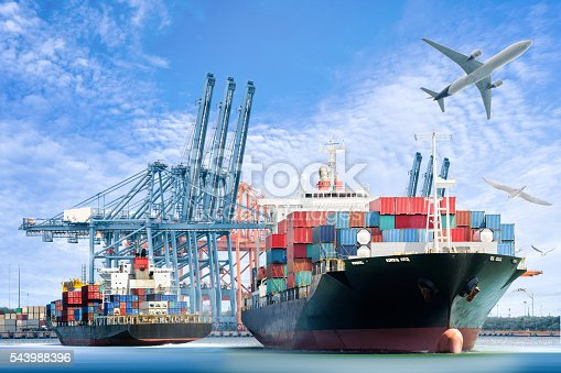 637816284istockphoto Container Cargo ship and Cargo plane for logistic import 543988396