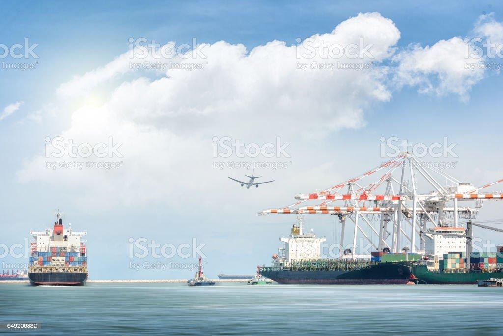 Container Cargo Ship And Cargo Plane With Port Crane Bridge
