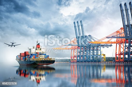 693774520 istock photo Container Cargo ship and Cargo plane with working crane bridge in seaport , logistic import export background and transport industry. 658202526