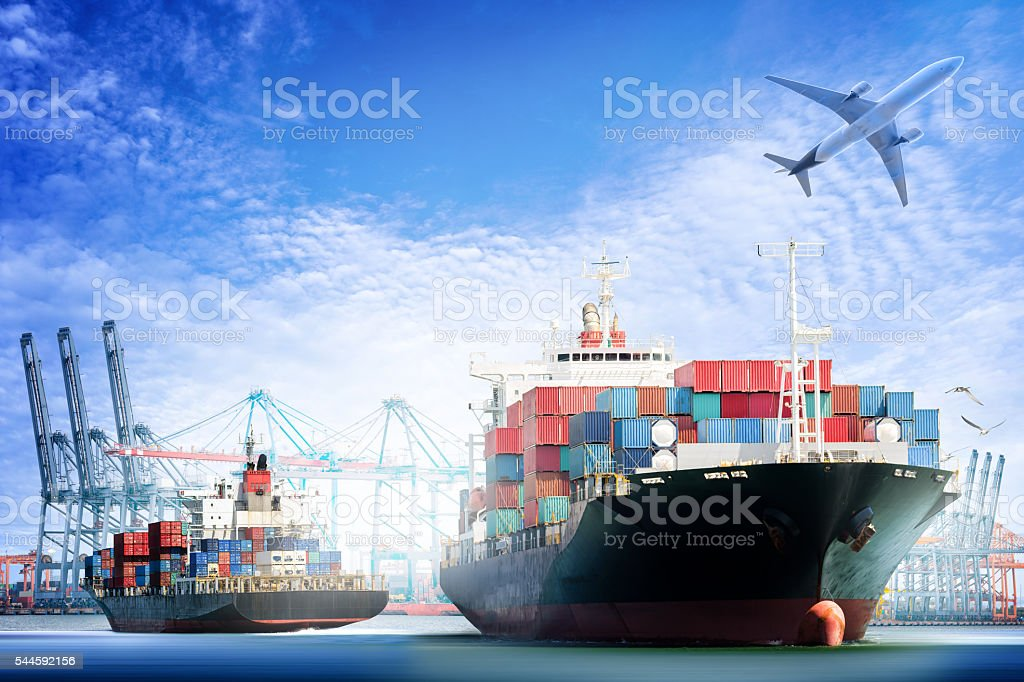 Container Cargo ship and Cargo plane with working crane - Lizenzfrei Anlegestelle Stock-Foto