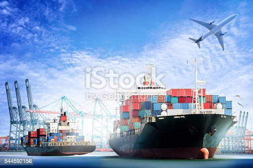 istock Container Cargo ship and Cargo plane with working crane 544592156