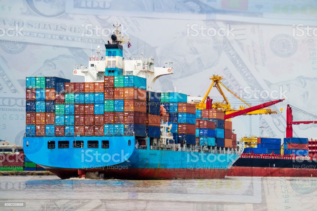 Container cargo ship depart from shipping port. Dollar money cash background. Logistics industrial and import export transportation business background stock photo