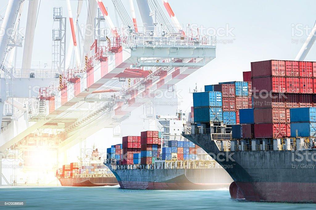 Container cargo ship entering the port. stock photo