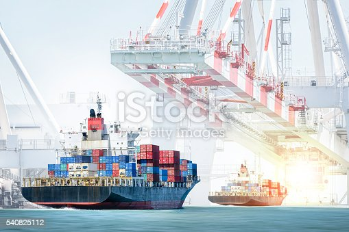 638310484 istock photo Container cargo ship entering the port with harbor crane background 540825112