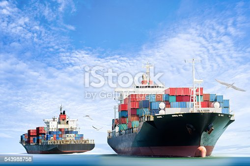 istock Container Cargo ship in the ocean with Birds flying 543988758
