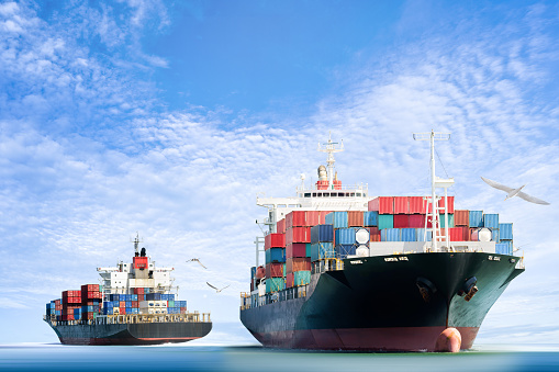 Container Cargo ship in the ocean with Birds flying in blue sky, Freight Transportation.