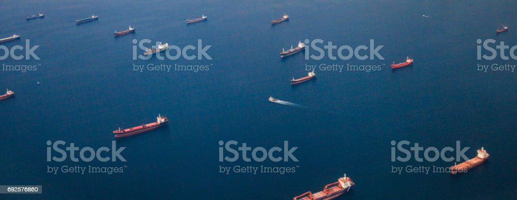 Container Cargo ships and Oil Tankers Sailing stock photo