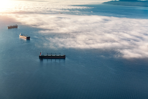 Container cargo ships in Vancouver's English Bay