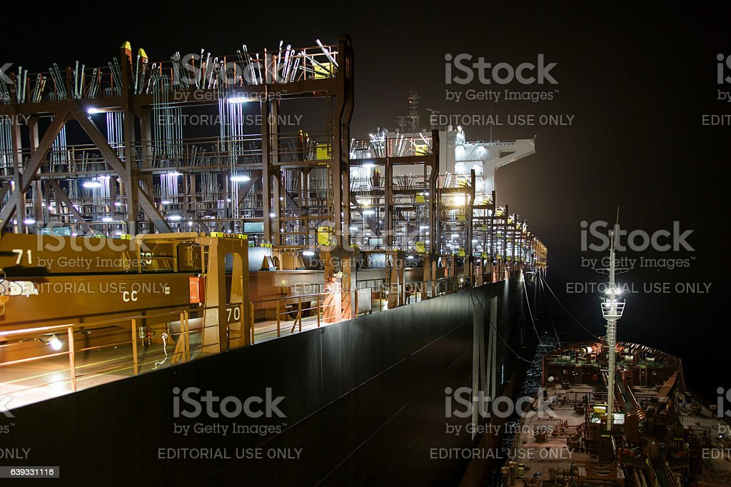 Container containers without bunkering night stock photo
