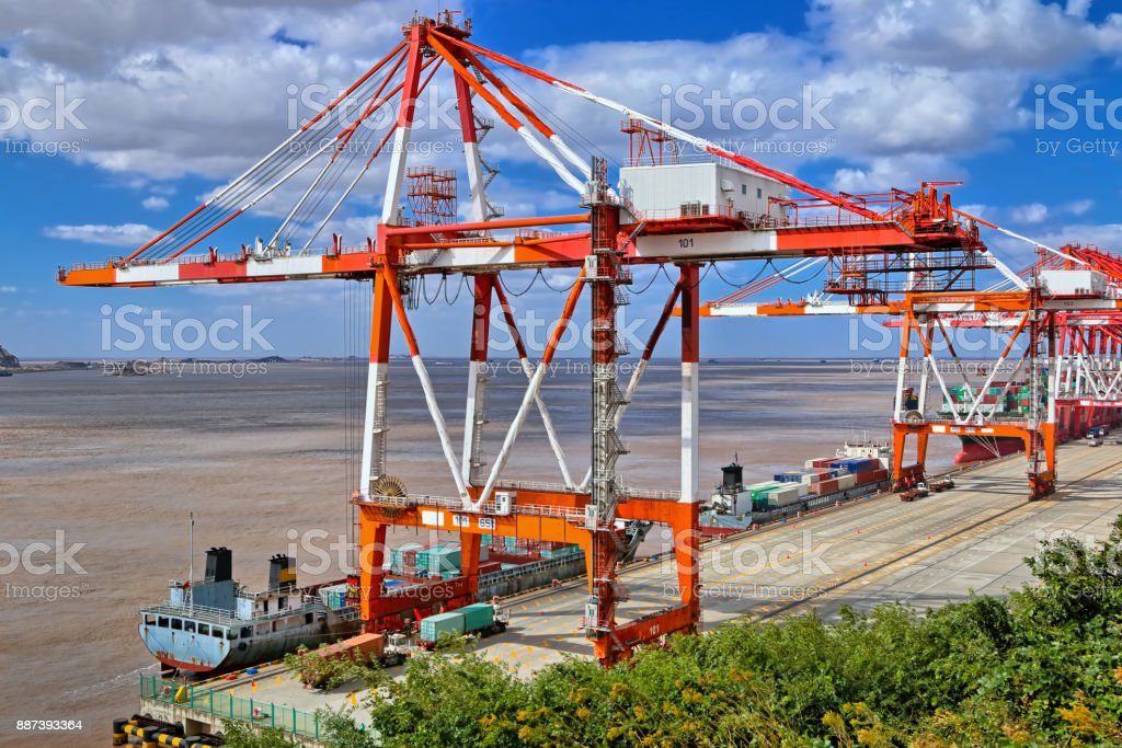 Container crane at port stock photo