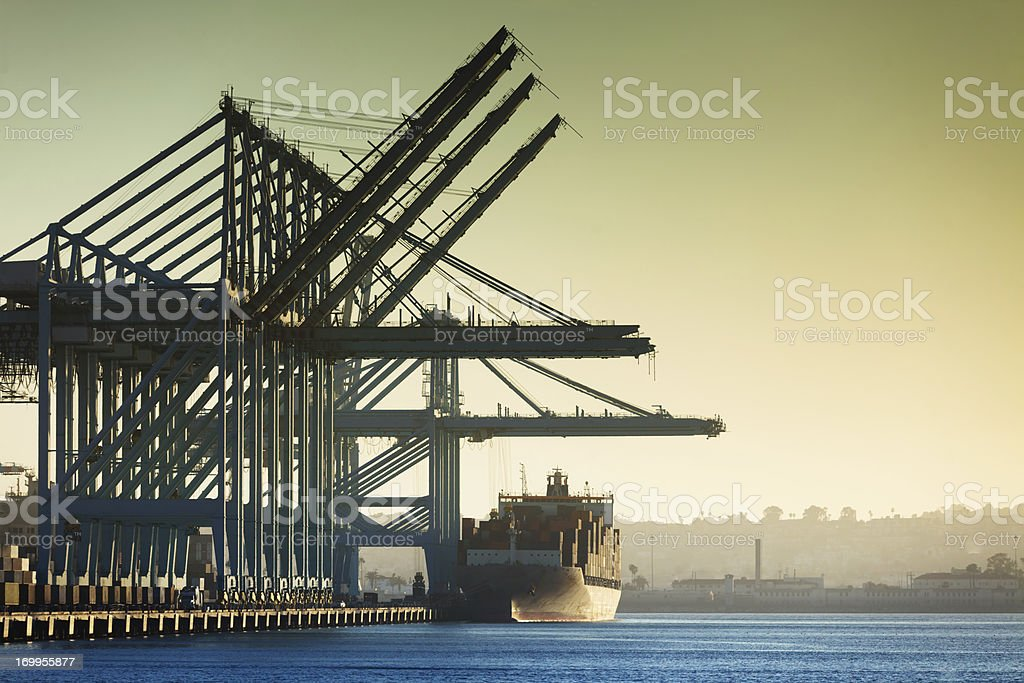 Container Cranes and Cargo Ship at Port of LA [Horizontal] stock photo