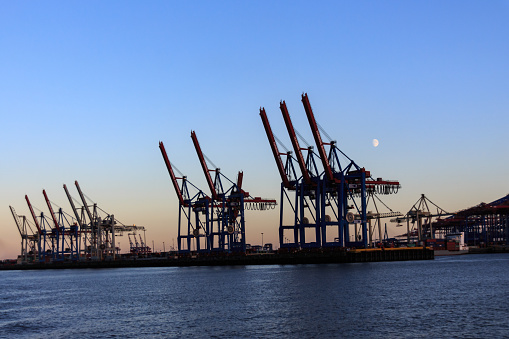container dock with derricks in the port of Hamburg