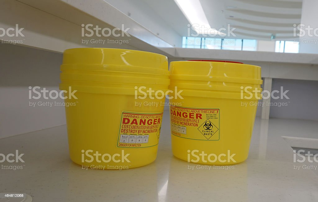 Container for hazardous waste in hospital stock photo