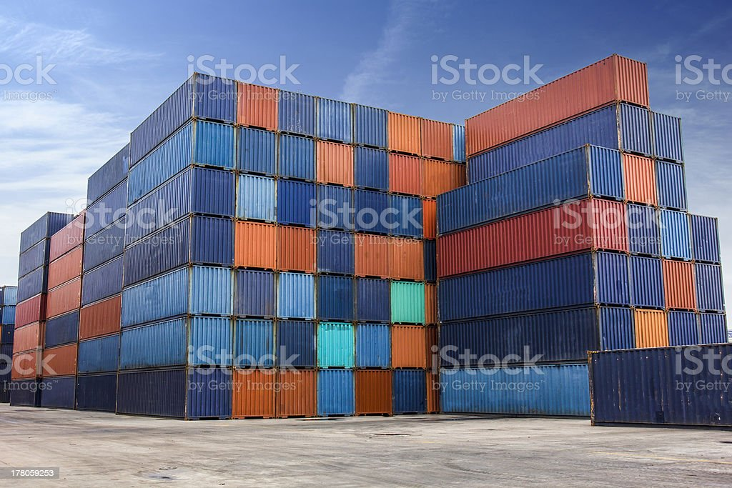 Container for import and export on yard stock photo