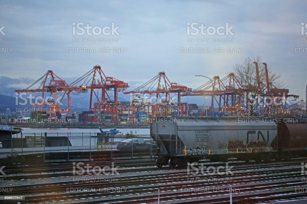 Container Gantry Cranes at Port of Vancouver, Canada in Winter stock photo