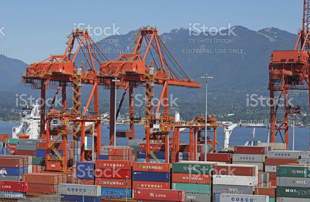 Container Handling Gantry Cranes, Port Metro Vancouver, Burrard Inlet, Canada royalty-free stock photo