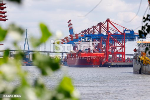 Eurogate Harbor with container ship, Hamburg, Germany
