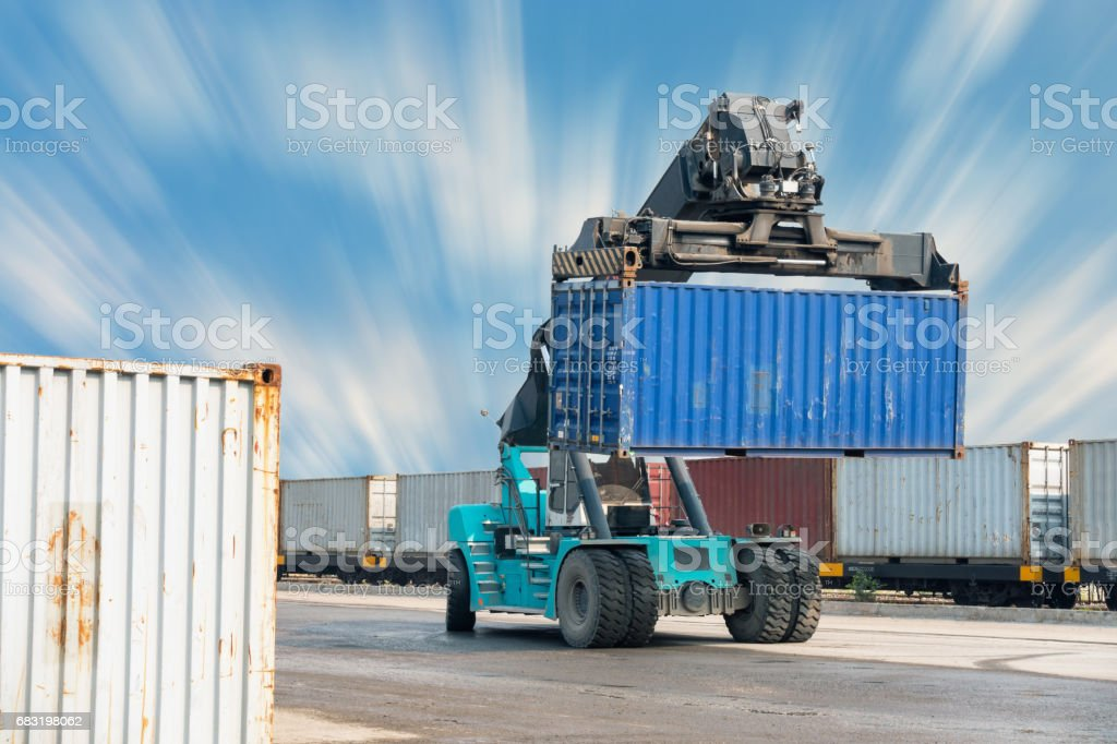 Container lifting truck in the storage yard. royalty-free stock photo