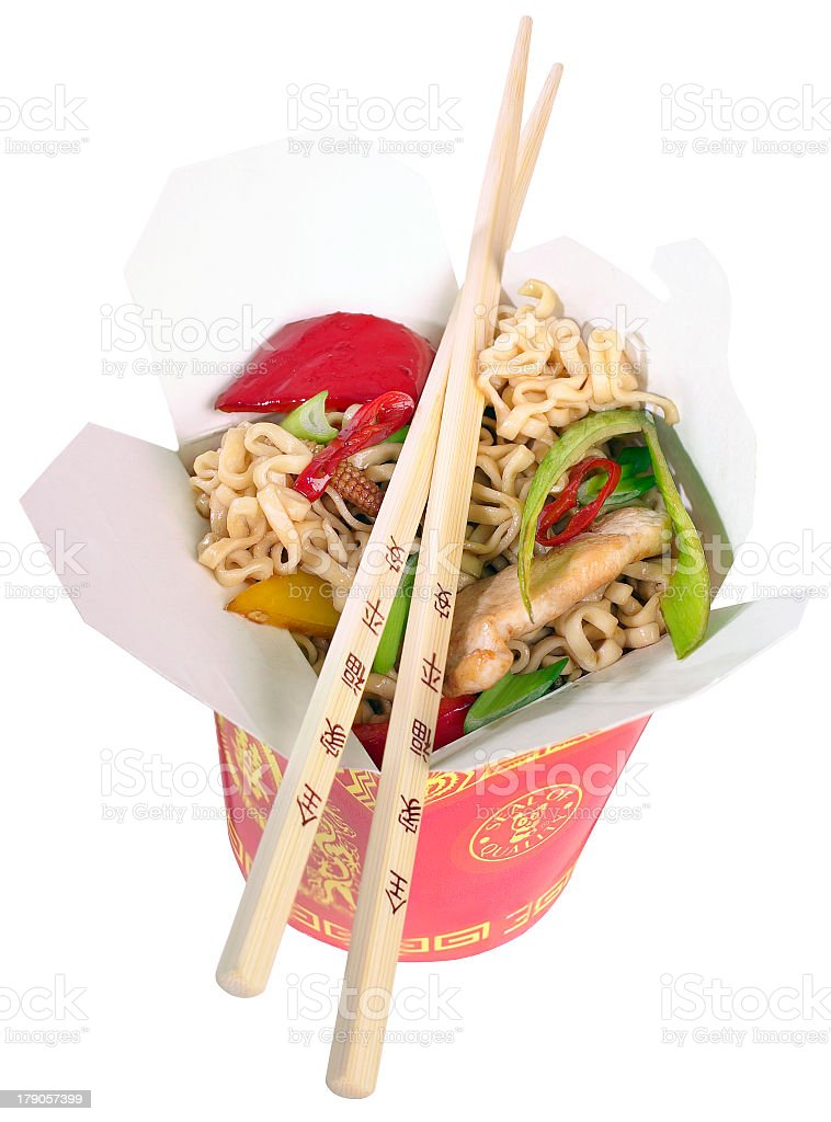 Container of Chinese noodles with chopsticks royalty-free stock photo
