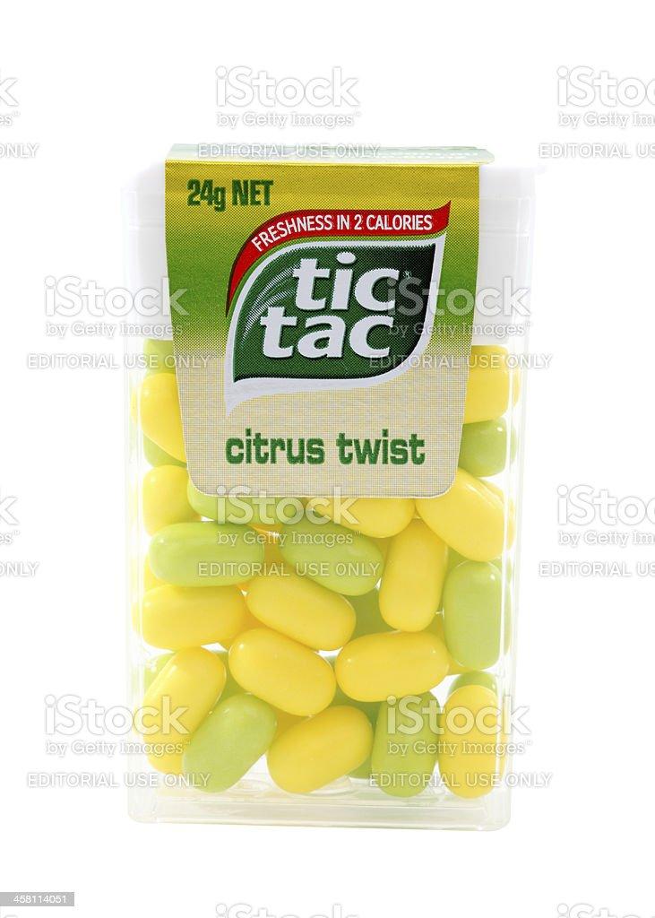 Container of Citrus Twist Tic Tac candies stock photo