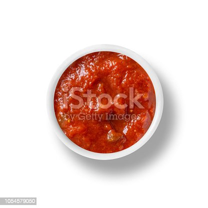 small bowl of marinara tomato sauce isolated on white. top down view from above