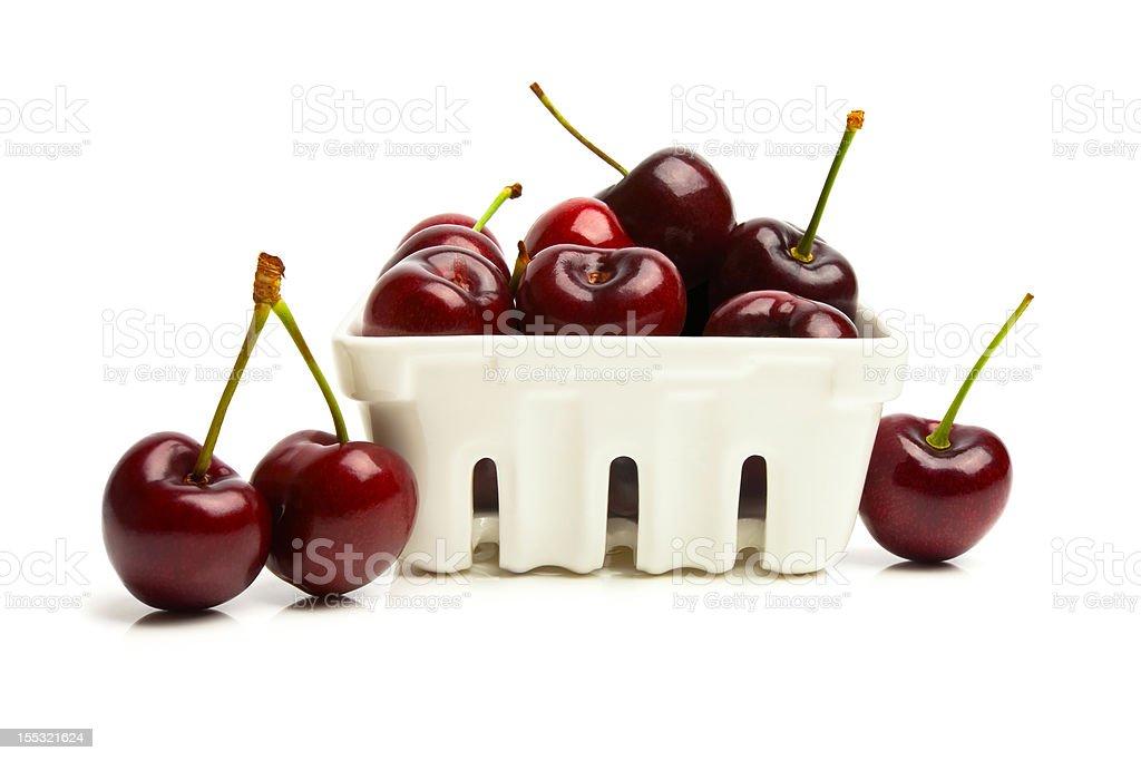 Container Of Organic Cherries stock photo