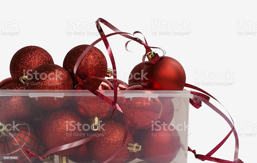 container of red christmas baubles royalty-free stock photo