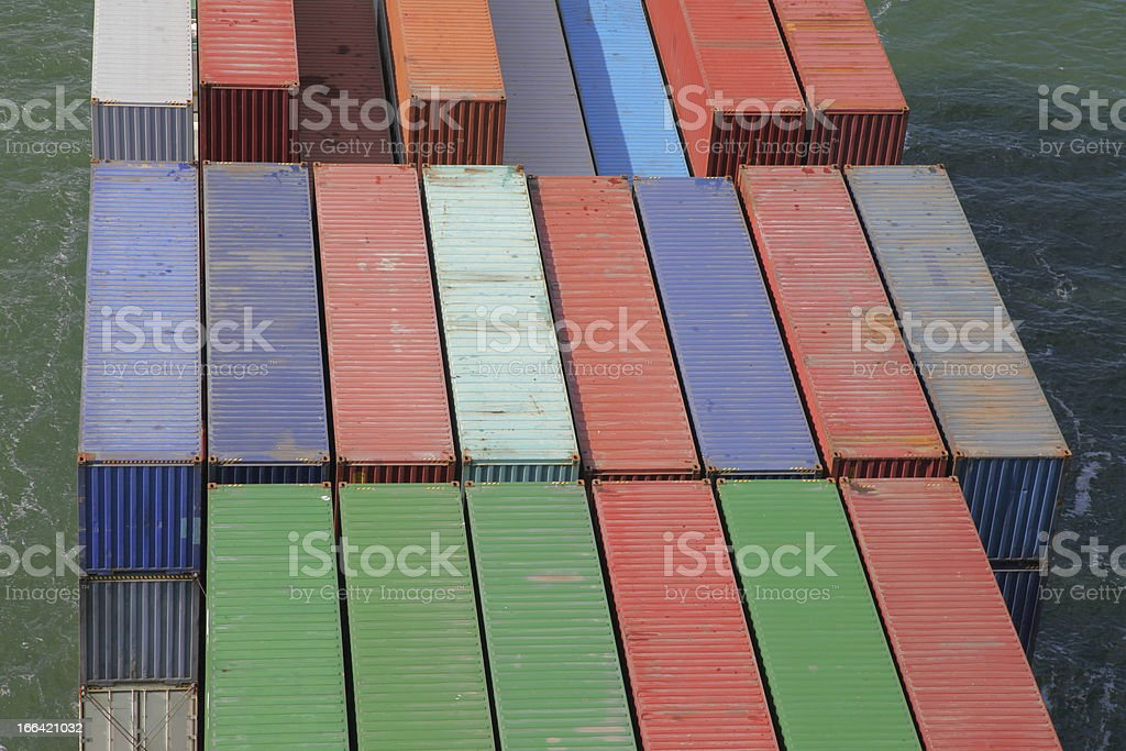 container on a cargo vessel royalty-free stock photo