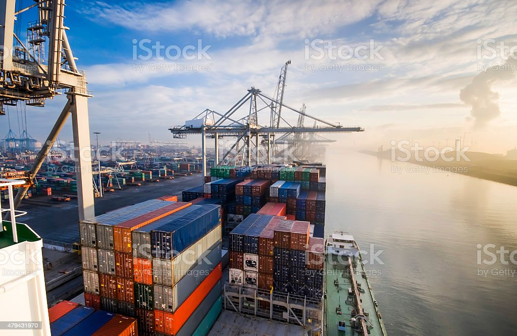 Container operation in port.