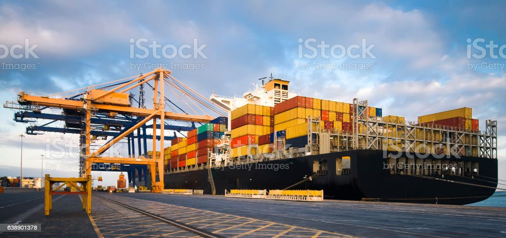 Container Operation in Port Terminal stock photo