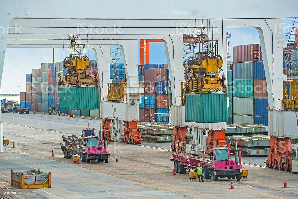 container operation in sea port stock photo
