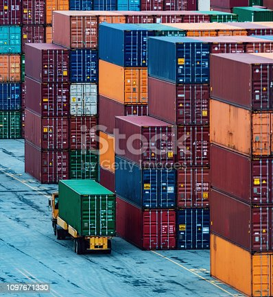 Shipping containers stacked high at a container pier.