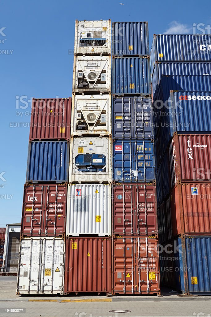 Container - Pile of containers and refrigerated containers stock photo