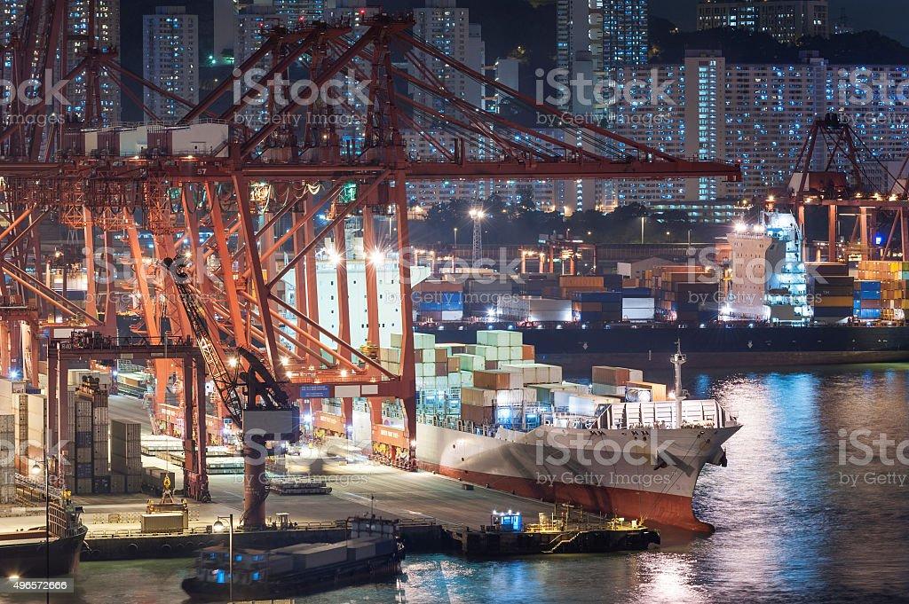 cargo Container Hafen und Schiff – Foto
