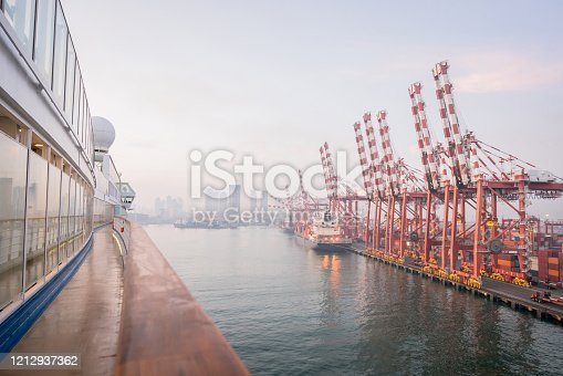 istock Container port and container ship transportation at Colombo. 1212937362