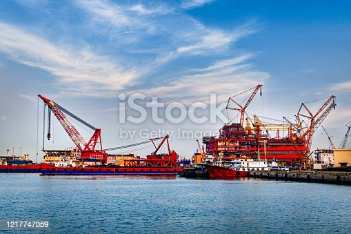 Container port and container ship transportation, Logistic hub in Tianjin china