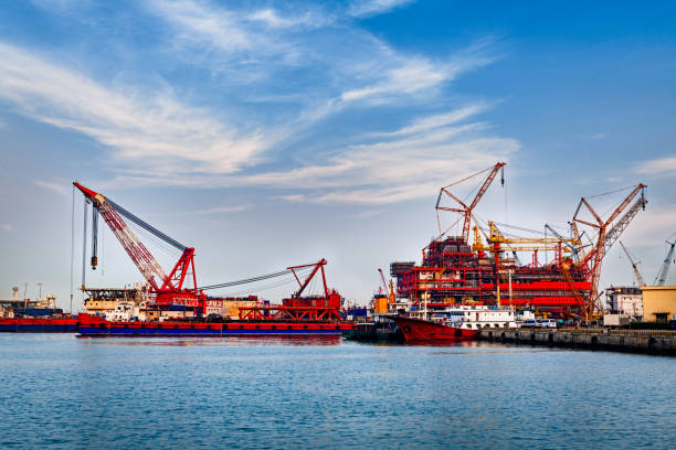 Container port and container ship transportation, Logistic hub in Tianjin china stock photo