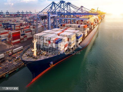 Container port and container ship transportation, Logistic hub in Singapore